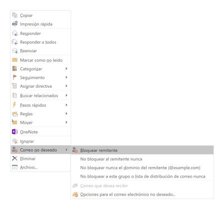 Outlook bloquear remitente