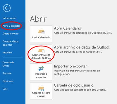 Outlook abrir pst