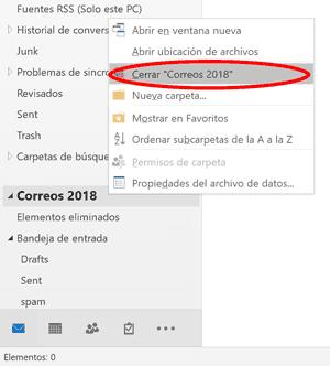 Outlook cerrar pst