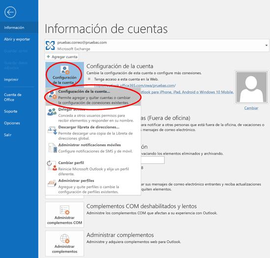 Outlook configuración cuenta