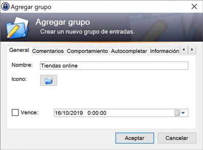 Keepass nombre grupo