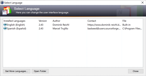 Keepass nuevo idioma
