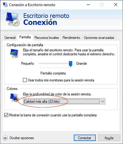 RDP pantalla